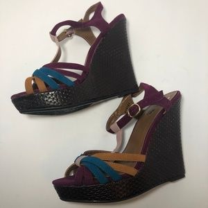 Charlotte Russe High-Heeled Wedge Sandals Size 8